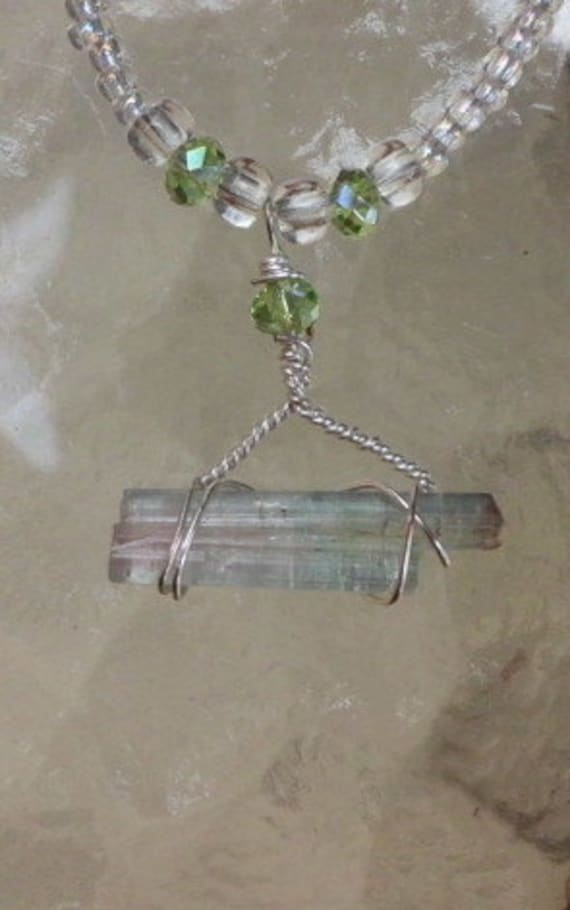 Silver Plated Wire Wrapped Watermelon Tourmaline Necklace
