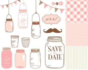 14 Hand Drawn Mason Jars and digital paper - Clip art for scrapbooking, wedding invitations, Personal and Small Commercial Use.