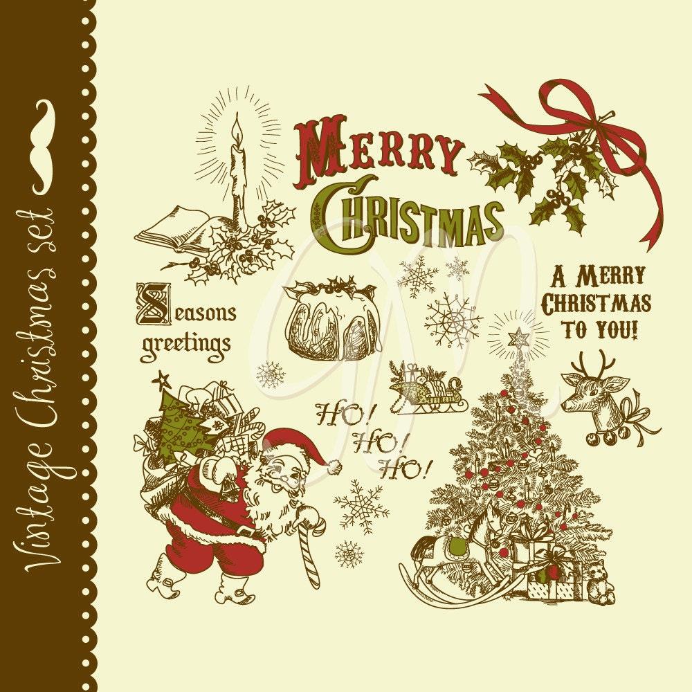 Christmas vintage clip art hand drawn elements digital