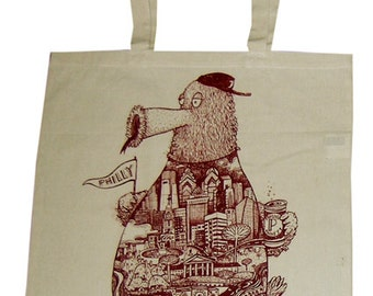 FREE SHIPPING - Philadelphia Phanatic -- Paul Carpenter Art -- Tote Bag Philly Artist Print