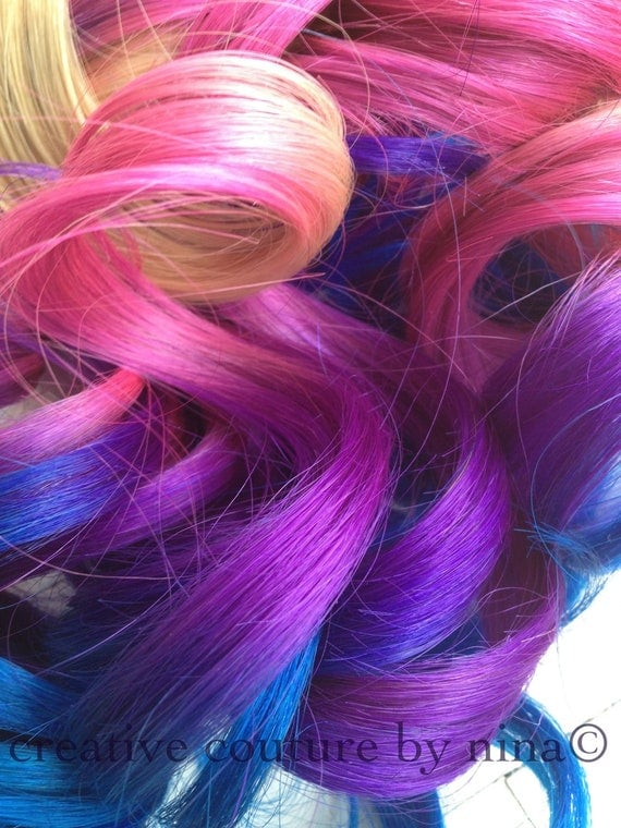 "Ombre Hair Extensions,Tie dye Hair, Blonde Hair Extensions, Pink Ombre,Purple,Blue Vibrant Colors,(7) Pieces18"", Custom Your Own"