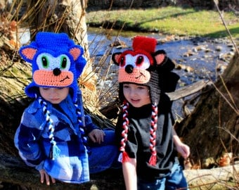 Crochet hat  Sonic hat,and Shadow hat