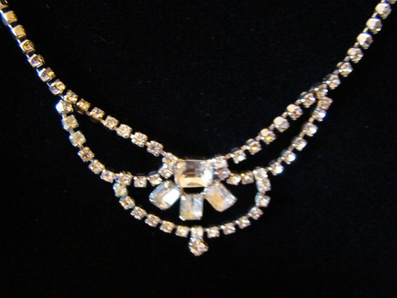 RESERVED for Christine:  Vintage Rhinestone Bib Necklace, Perfect for your Special Day