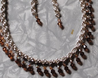 topaz crystal chain maille necklace and earrings (#2)