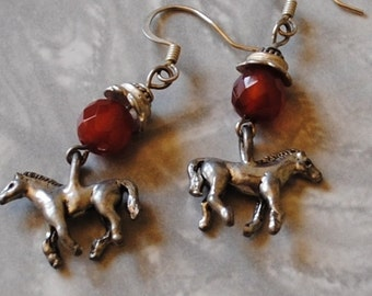 Carnelian horse earrings