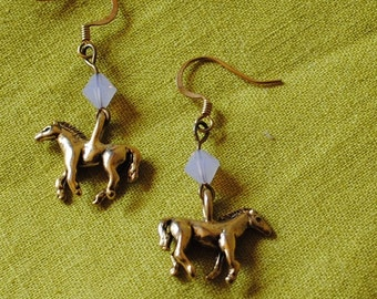 Lavender horse earrings