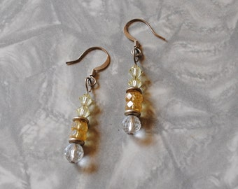 Yellow crystal ball earrings