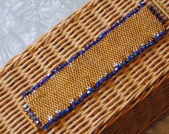 Gold hex and burgundy bracelet (#1)
