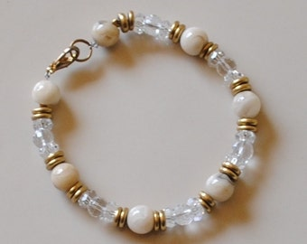 Agate and crystal ball bracelet (#2)