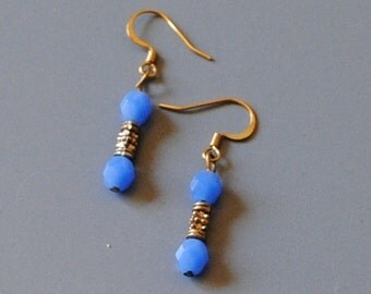 Blue and gold dumbell earrings*