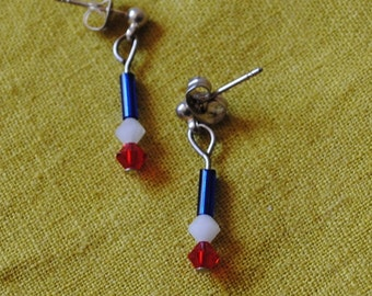 Red, white and blue bugle bead earrings