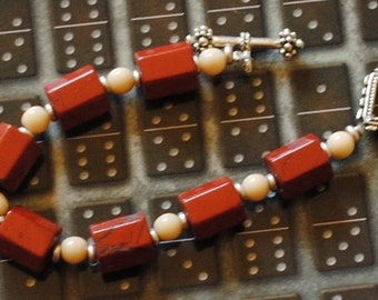 Red jasper and riverstone bracelet (#2)