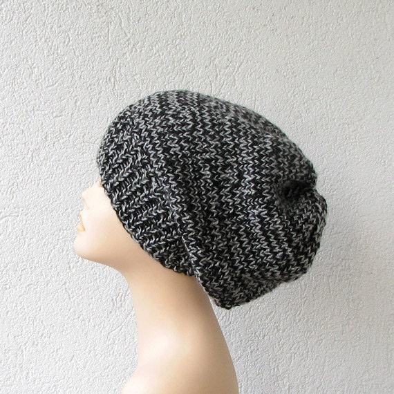 Black Grey Dreadlock Tam, Oversized Winter Beanie Hat For Dreads.