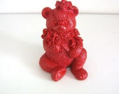 Red Painted Teddy Bear Figurine Upcycled Home Decor