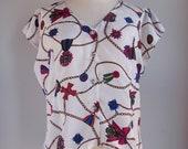 SALE 1990s White Scarf Print Colorful Short Sleeve Shirt Size Medium / Large