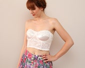 Vintage Vintage White Lace and Satin Cropped Bustier Bra Size 38 B