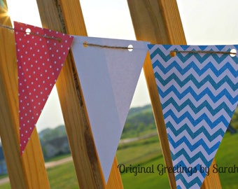 Patriotic bunting - flags/pennants/banner - red white and blue