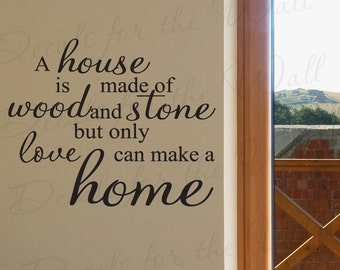 A House Made Wood and Stone Love Makes Home Inspirational Family Adhesive Vinyl Decor Art Quote Decal Wall Decoration Lettering Sticker J11