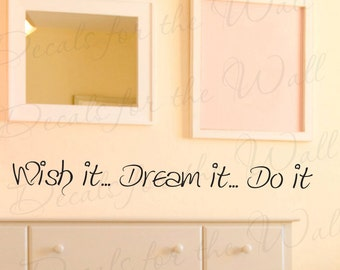 Wish Dream Do It Inspirational Motivational Kids Wall Decal Saying Adhesive Vinyl Lettering Decoration Quote Sticker Art Mural Decor IN89