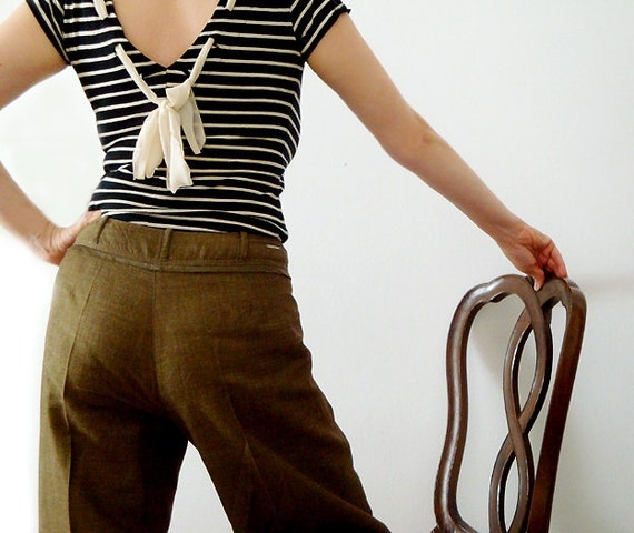 Trussardi jeans,Cute Flax and Viscose Pants , Zen style , Eco Friendly.