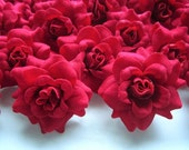 24 Red mini Roses Heads - Artificial Silk Flower - 1.75 inches - Wholesale Lot - for Wedding Work, Make clips, headbands