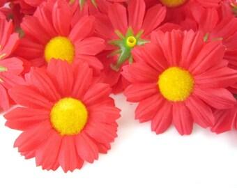 25 Red Gerbera Daisy Heads - Artificial Silk Flower - 1.75 inches - Wholesale Lot - for Wedding work, Make Hair clips, headbands, scapbook