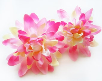 4 Pink silk Dahlia heads - Artificial Flower - 4 inches - Wholesale Lot - for Wedding Work, Make Hair clips, headbands, hats