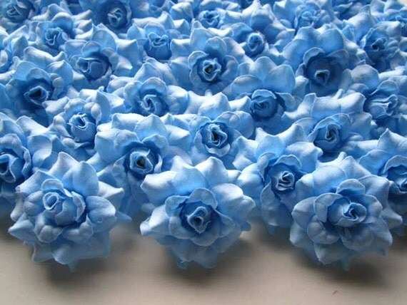 100 Blue mini Roses Heads - Artificial Silk Flower - 1.75 inches - Wholesale Lot - for Wedding Work, Make Hair clips, headbands