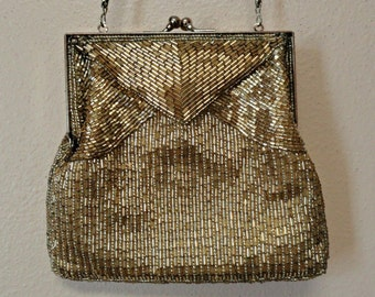 Vintage La Regale Gold Beaded Purse Formal