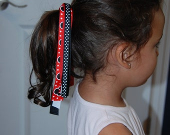 Minnie Mouse Streamer Pony o / Pig Tail Holders / Streamer Pony tail holder / Disney Ponytail Holder / Girls Ponytail Holder