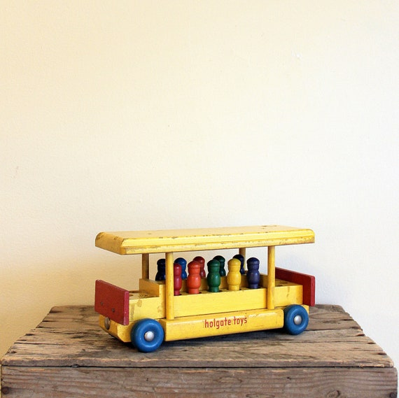 RESERVED - Vintage Wooden Toy - 1950s Holgate Jingle Trolley