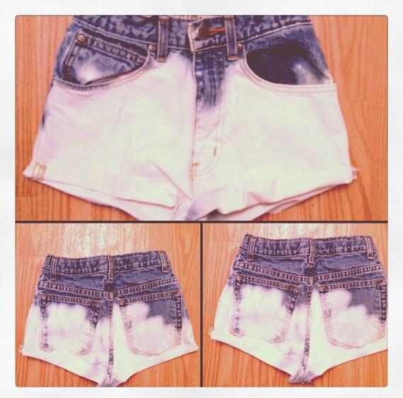 Girls High Waisted Bleached Shorts Size xxs / 12 SLIM