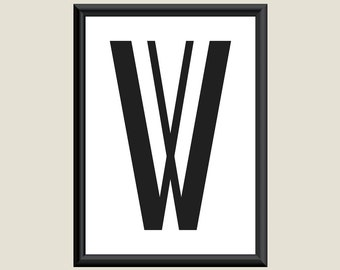 Typography Giclee Print Monogram Initial Wall Art Boogie Nights Letter W