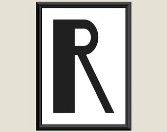Typography Giclee Print Monogram Initial Wall Art Boogie Nights Letter R