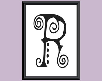 Typography Giclee Print Monogram Initial Wall Art SpaGirl Letter R