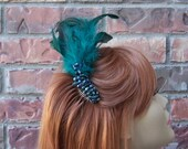 Teal Feather Hair Comb Fascinator  With Teal Beads - Retro Saloon Style Hairpiece