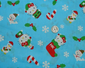 Hello Kitty Winter Toss original copyright 1976 Sanrio - Fabric By The Half Yard 18 inches x 44 inches