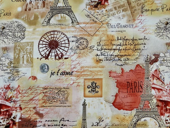 je t'aime Paris- Fabric By The Yard