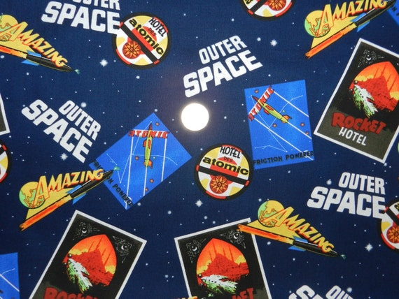 Outer space movie posters fabric by the yard for Space fabric by the yard