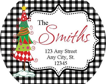Round Christmas Address Labels, Tree Gingham Round Labels for Christmas Cards, Address Labels, Preppy Labels