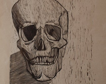 Hand-Pulled Woodcut Skull no. 9