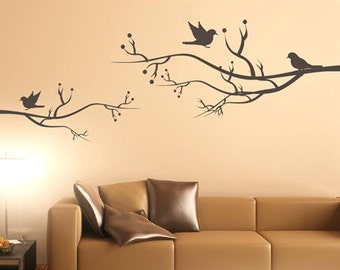 Wall decal singing birds nature wall decal living room wall sticker