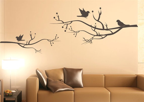 Items similar to Bird wall decal , singing birds, nature wall decal, living  room wall sticker, vinyl wall decal, nature, christmas gift on Etsy