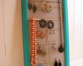 Jewelry Hanger / Organizer / Vintage / Turquoise / Frame with Lace
