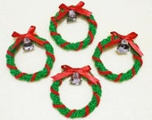 Crocheted  Christmas Wreath with Bell - set of 4
