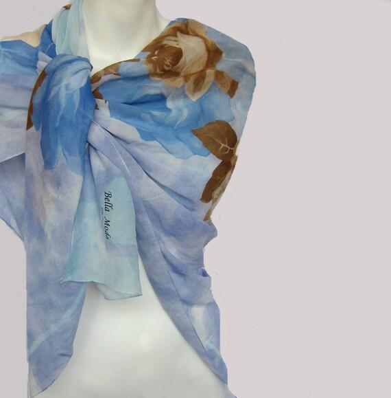 Vintage Silk Scarf..Blue Camel Beige Brown Silk Chiffon Scarf ..45 x 45 Square Scarf