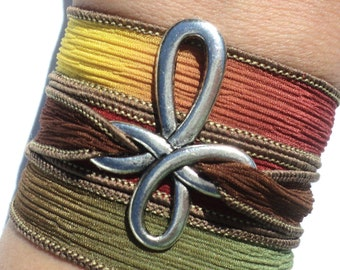 Cross Silk Wrap Bracelet Red Green Brown Yellow Bohemian Yoga Jewelry Necklace Christmas Unique Gift For Her Under 50 Item W26
