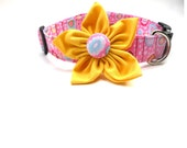 Large Pink Dog Collar with Yellow Flower Attachment