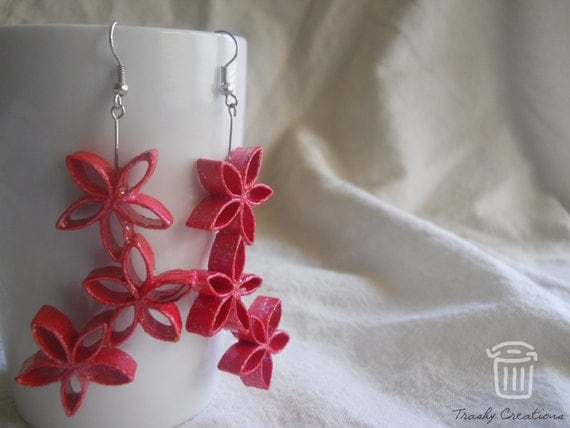 3 flower paper earring - pink by TrashyCreations by Upcycle Fever
