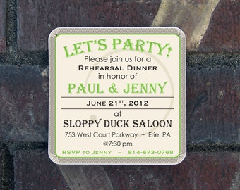 Rehearsal Dinner invitation Coasters - Craft paper envelopes